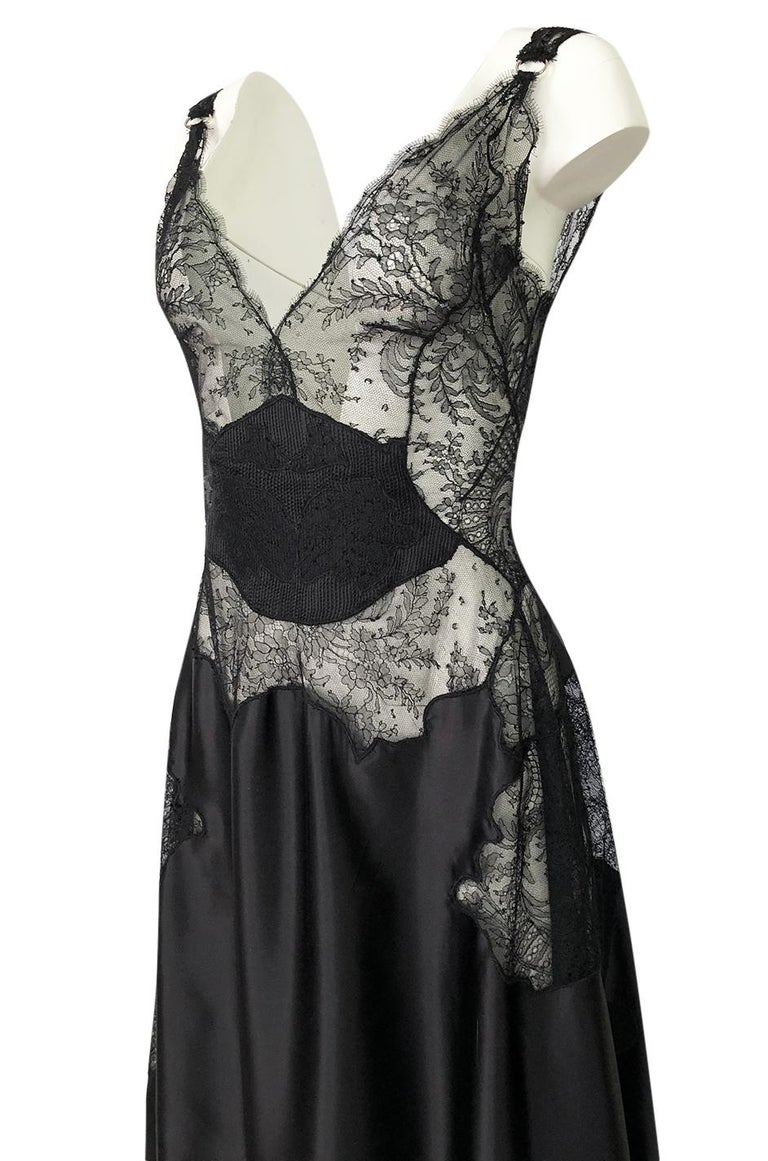 Pre-Fall 2015 Ricardo Tisci for Givenchy Black Silk Satin & Lace Dress For Sale 3