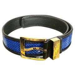Pre/Fall2012 L# 5 VERSACE BLUE SNAKESKIN BELT w/Gold Tone GREEK KEY BUCKLE 75/30