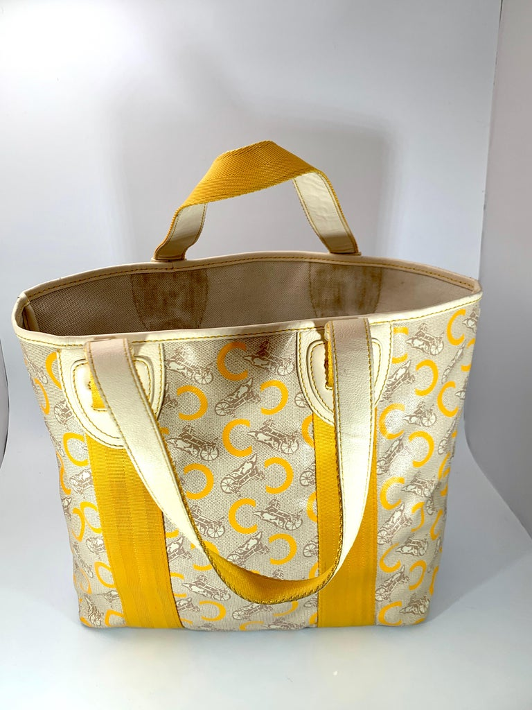 Pre-Loved Celine Yellow  Beige  Canvas Coated PVC Plastic Macadam Tote Bag  For Sale 5