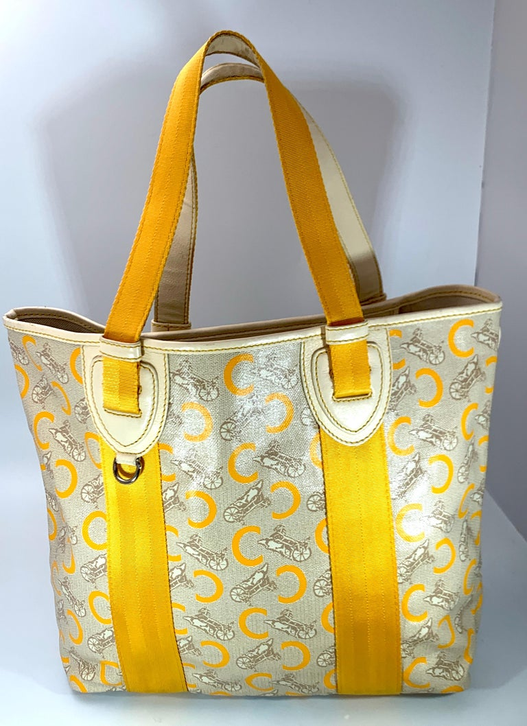 Brown Pre-Loved Celine Yellow  Beige  Canvas Coated PVC Plastic Macadam Tote Bag  For Sale