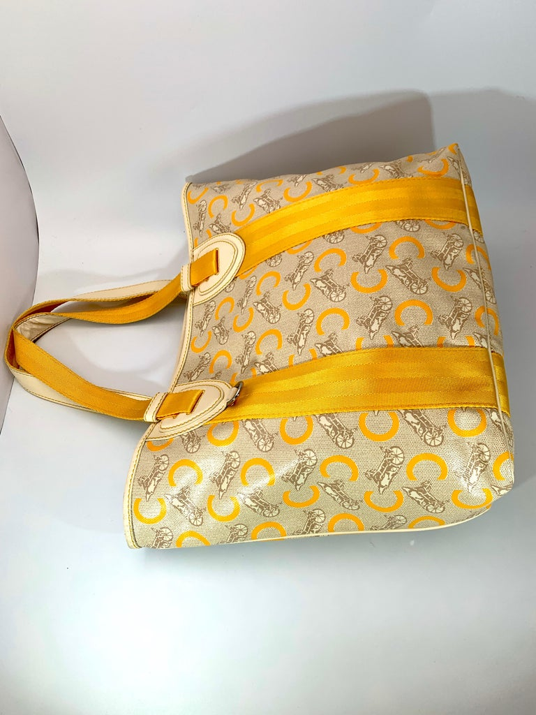 Pre-Loved Celine Yellow  Beige  Canvas Coated PVC Plastic Macadam Tote Bag  In Excellent Condition For Sale In Scarsdale, NY