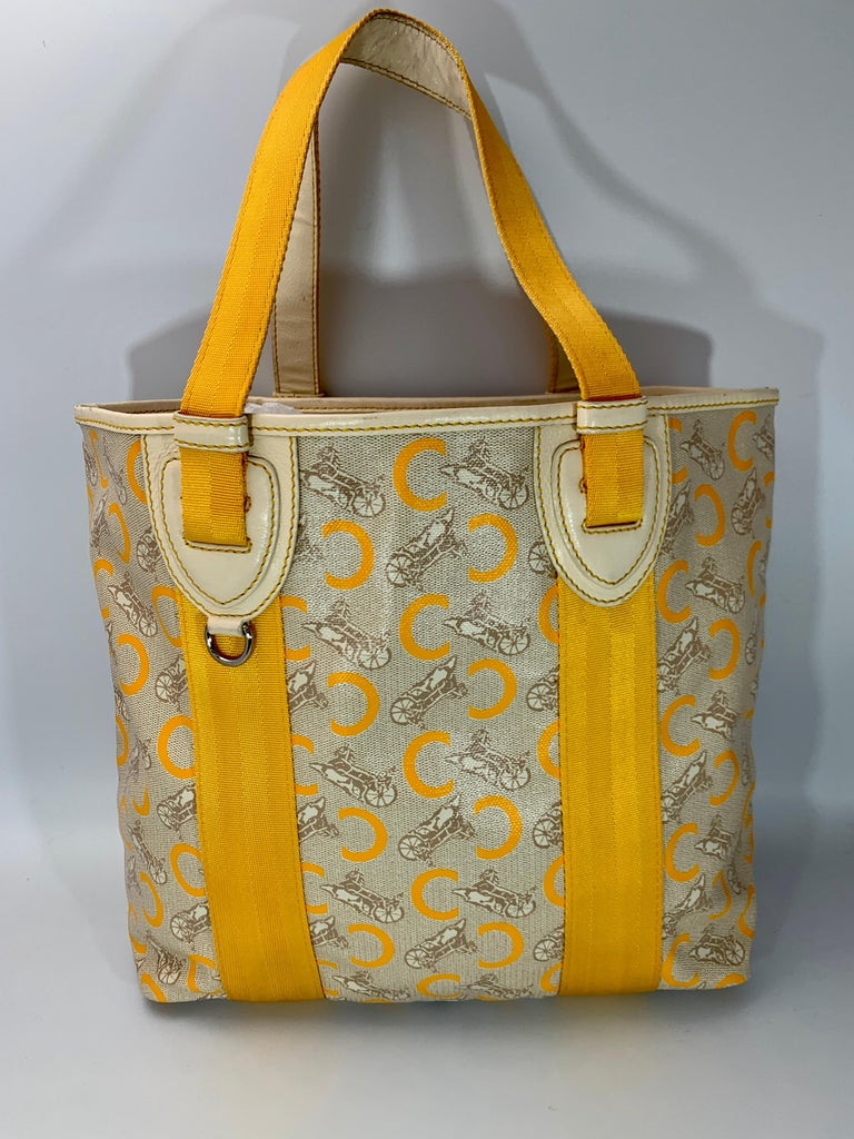 Women's Pre-Loved Celine Yellow  Beige  Canvas Coated PVC Plastic Macadam Tote Bag  For Sale