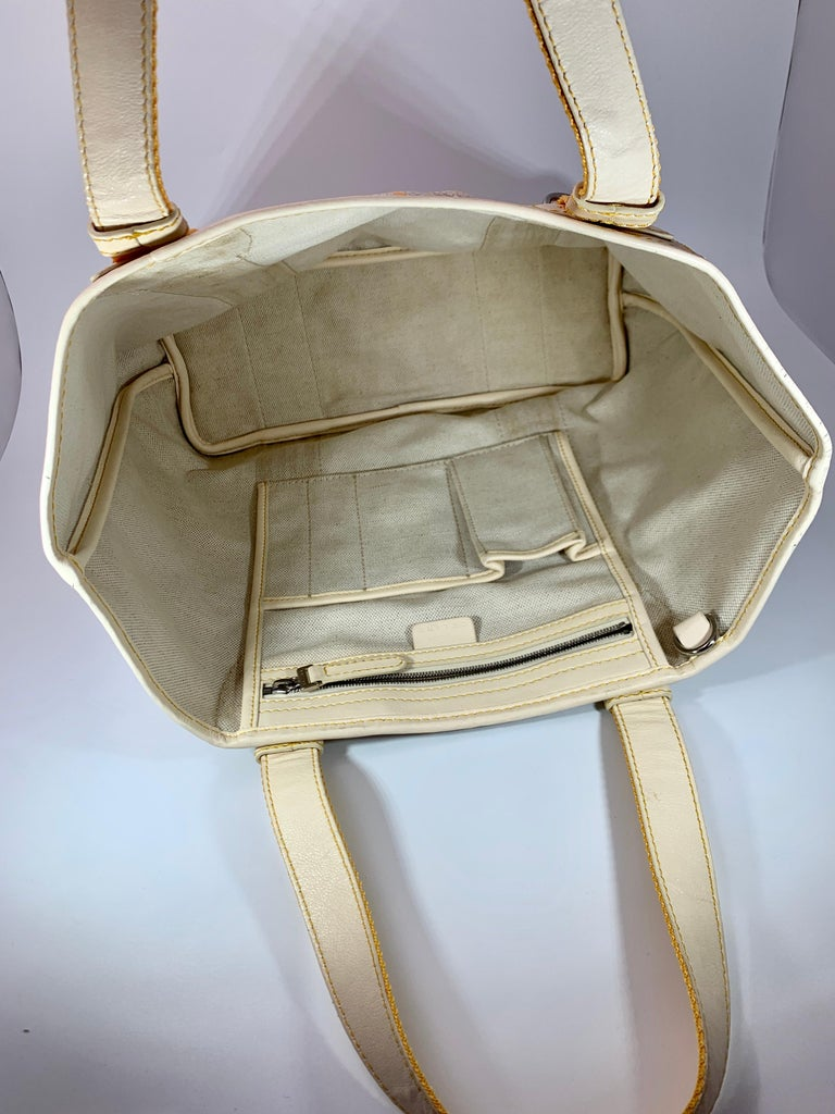 Pre-Loved Celine Yellow  Beige  Canvas Coated PVC Plastic Macadam Tote Bag  For Sale 1
