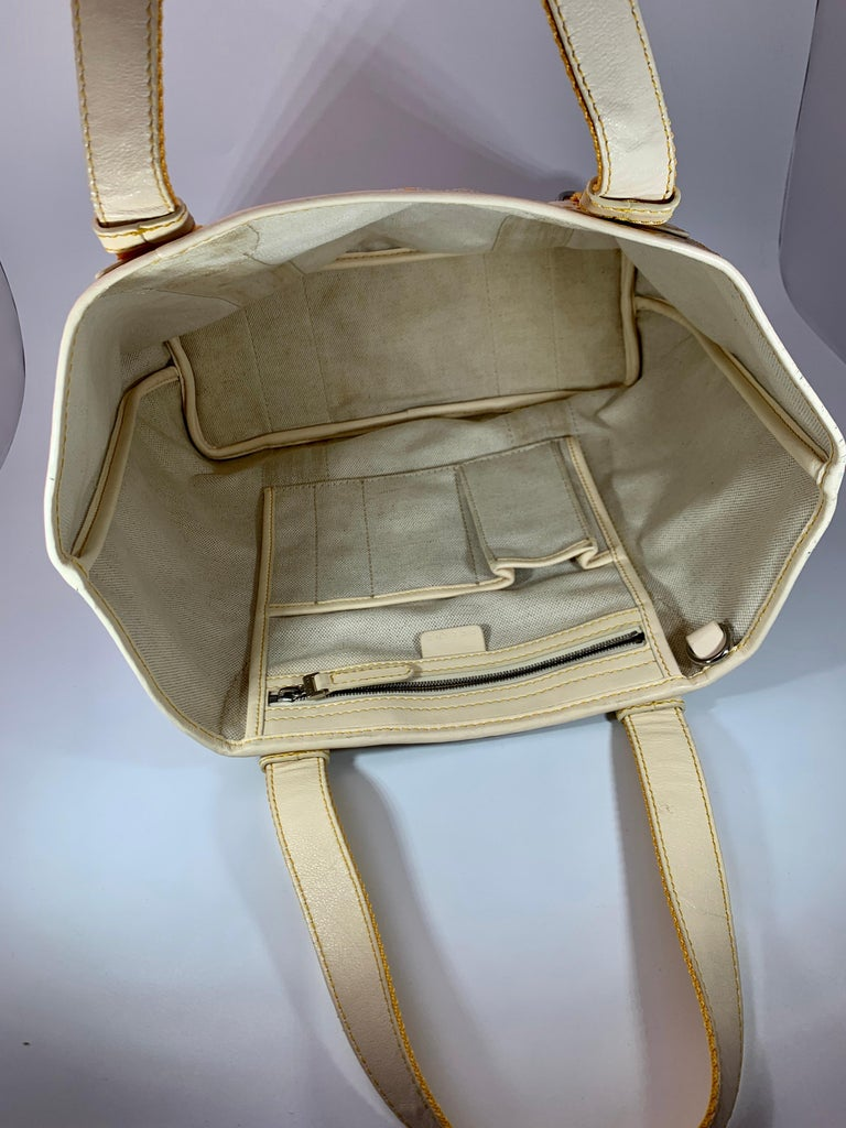 Pre-Loved Celine Yellow  Beige  Canvas Coated PVC Plastic Macadam Tote Bag  For Sale 2