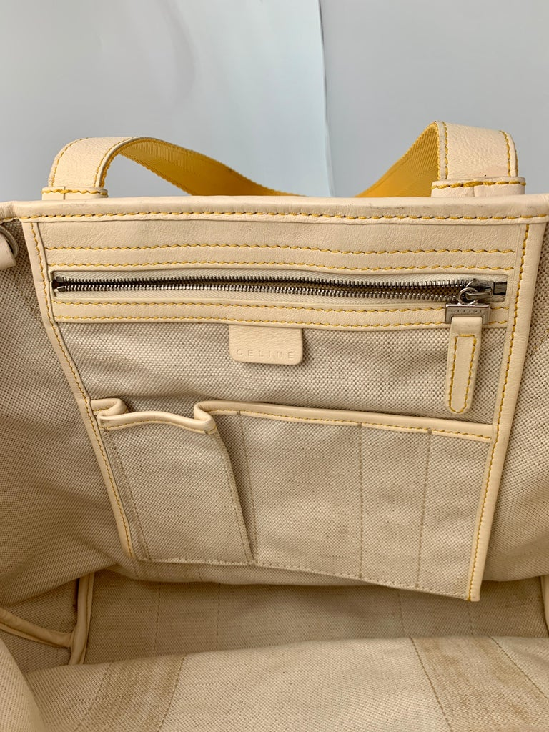 Pre-Loved Celine Yellow  Beige  Canvas Coated PVC Plastic Macadam Tote Bag  For Sale 3