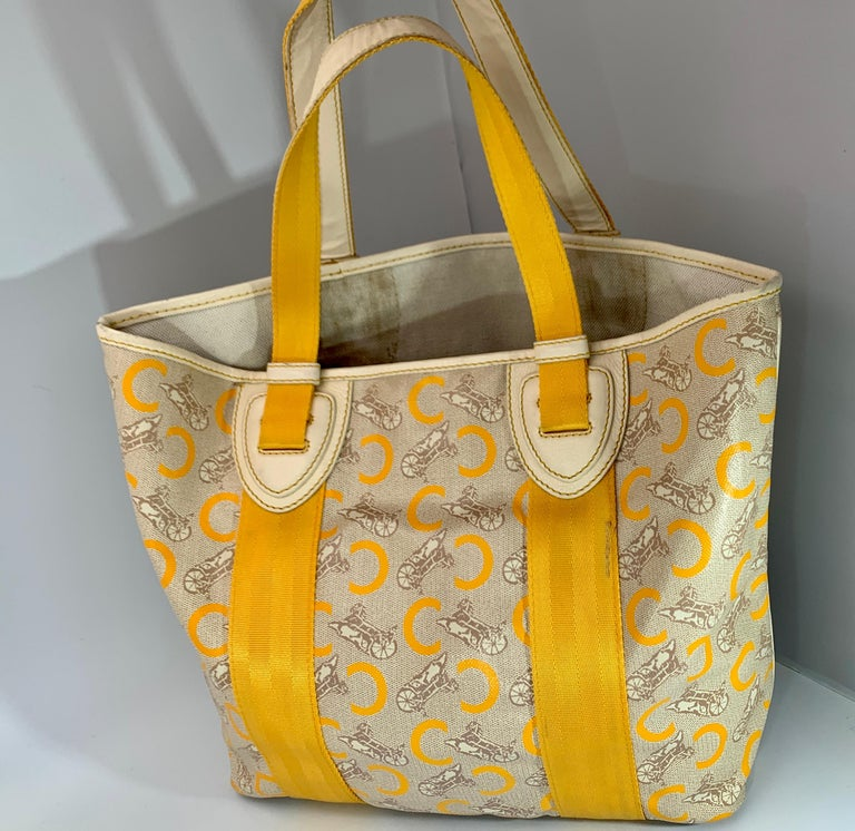Pre-Loved Celine Yellow  Beige  Canvas Coated PVC Plastic Macadam Tote Bag  For Sale 4