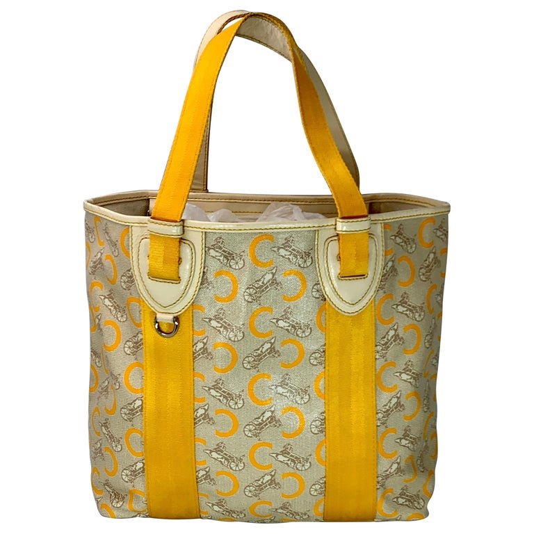 Pre-Loved Celine Yellow  Beige  Canvas Coated PVC Plastic Macadam Tote Bag  For Sale