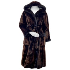 Pre-owned Alaskan Seal Fur Belted Coat with Mink Fur Trim and Hood (Size 8-S)