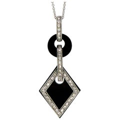 Pre-Owned Art Deco Style Onyx and Diamond Pendant