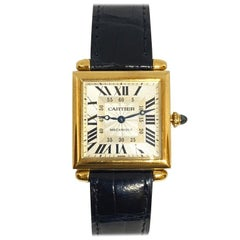Pre-Owned Cartier Carree Obus Tank Guilloche Exhibition 18k Yellow Watch Strap