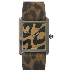 Pre-Owned Cartier Limited Edition Tank Solo Steel Leopard Print Strap & Dial