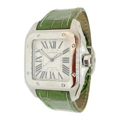 Pre-Owned Cartier Men's Xl Santos 100 Stainless Steel Green Strap Auto