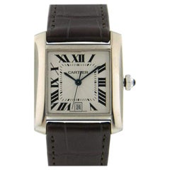Pre-Owned Cartier Tank Francaise Automatic 18K White Gold Brown Leather Strap