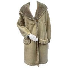 Brand New Fendi Fendissime Italian Beige Shearling Fur Coat (Size 14-L)