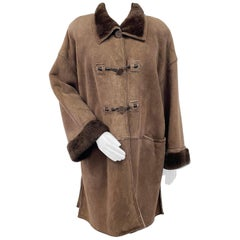 Pre-owned Fendi Fendissime Italian Brown Shearling Fur Coat (Size 14-L)