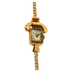 Pre-Owned Lucien Picard Ruby and Diamond Vintage Watch 1940'S 14k Yellow Gold