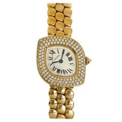 Pre-Owned Rare Cartier Lady's Navette Diamond Watch Bracelet 18Ky Gold Quartz