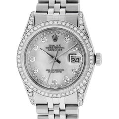 Pre-Owned Rolex Men's Datejust Watch Stainless Steel MOP String Diamond Dial