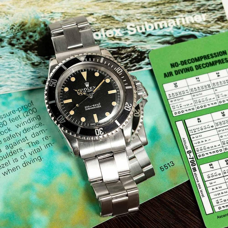 """Pre-Owned Rolex Submariner Ref. #5513 with """"Meters First"""" Dial For Sale 6"""