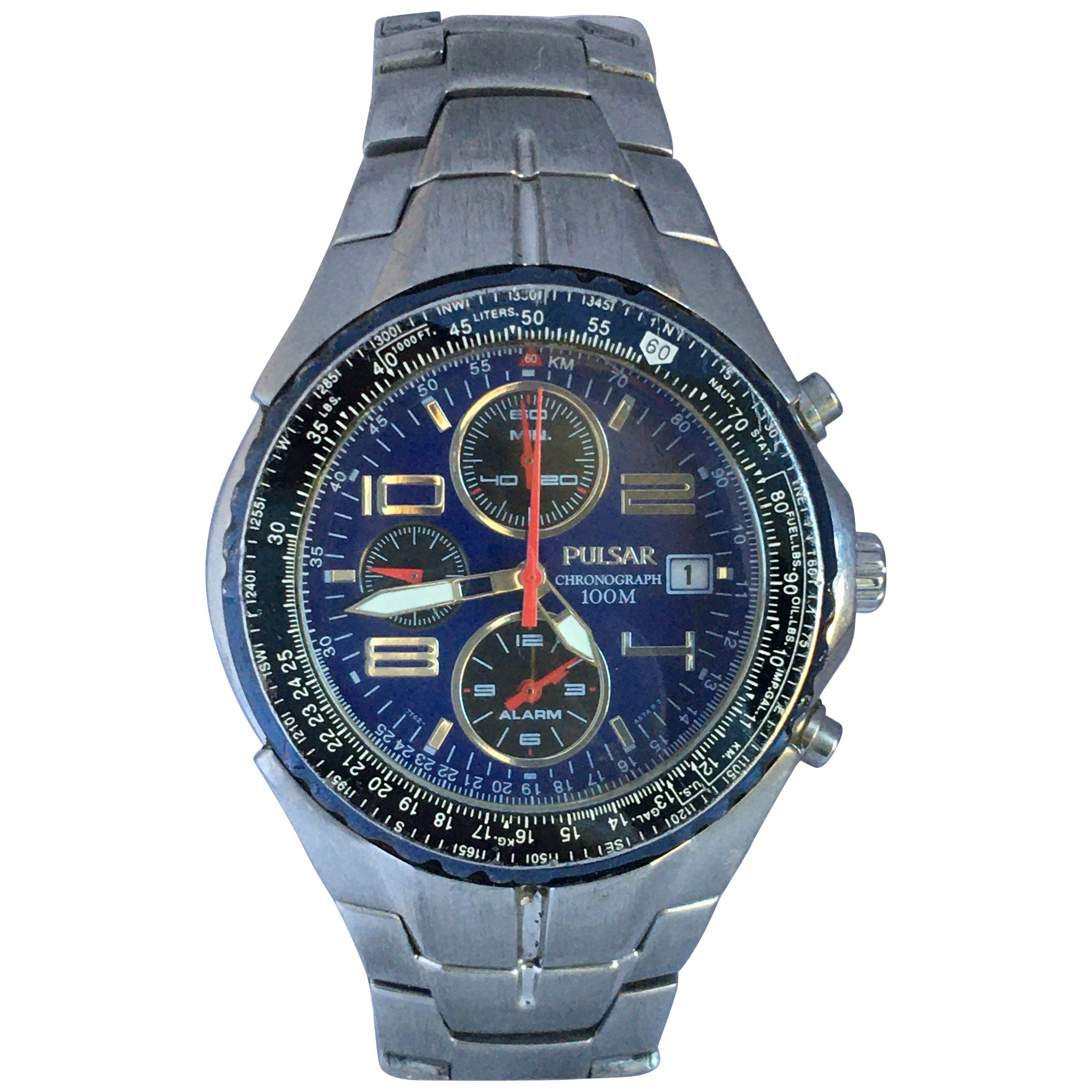 Pre-Owned Stainless Steel Pulsar Chronograph 100M Men's Watch