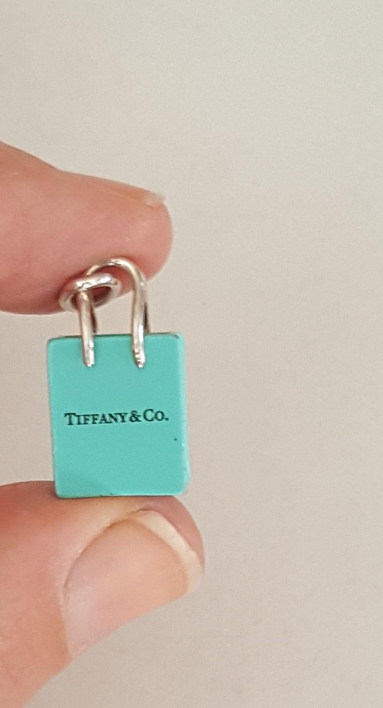 Modern Pre-Owned Tiffany & Co. Silver Signature Blue Purse Pendant, Enamel Finish For Sale