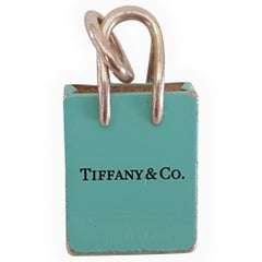 Pre-Owned Tiffany & Co. Silver Signature Blue Purse Pendant, Enamel Finish