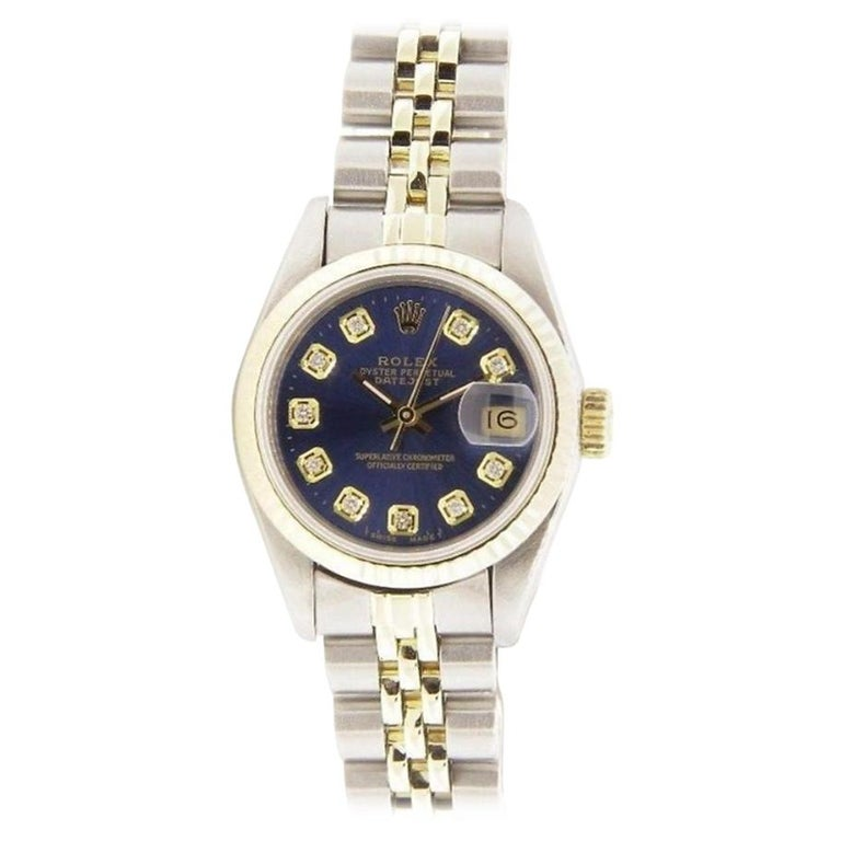 e2be1cd16 Pre owned Womens Rolex Datejust Steel & Gold 69173 Blue Diamond Dial 18k  Bezel For Sale