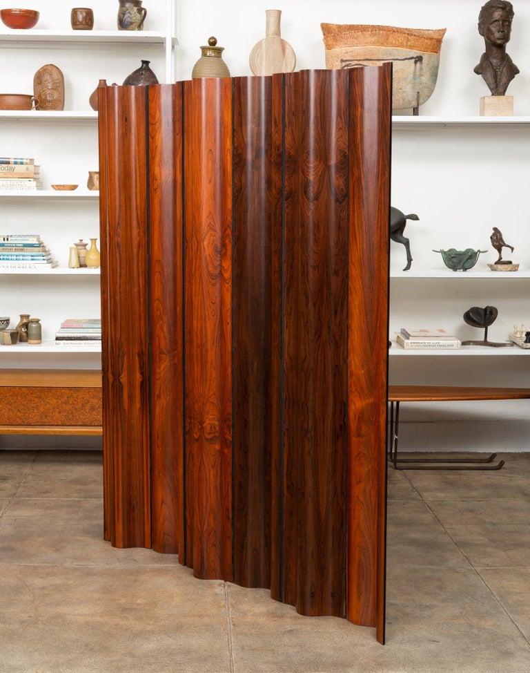 Pre-Production Eames Rosewood Folding Screen for Herman Miller In Excellent Condition In Los Angeles, CA