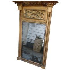 Pre Revolutionary Antique Gold Leaf Oversized Wall Mirror Original Glass