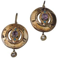 Pre-Victorian Pink Sapphire Roman Shield Earrings