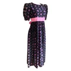 Pre-washed rosebud print black silk crepe FLORA KUNG princess dress