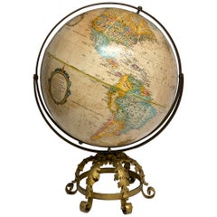 Pre WWII Globe on Art Deco Wrought Iron Stand by Repogle
