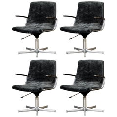 Preben Fabricius and Jorgen Kashtolm Swivel Chairs for Walter Knoll 1970s Signed