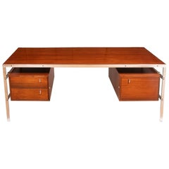 Preben Fabricius and Jorgen Kastholm Chrome and Rosewood Desk by BO-EX