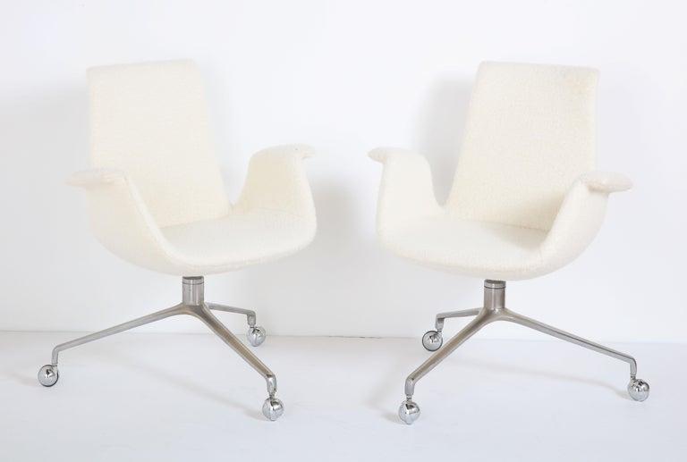 Pair of Preben Fabricius bird chairs, Denmark, 1950s. Cast aluminum base, reupholstered in ALT