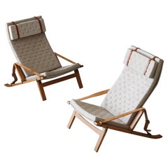 Preben Fabricius & Jørgen Kastholm, Lounge Chairs, Oak, Brass, Fabric, Denmark