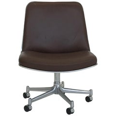 Preben Fabricius & Jørgen Kastholm Rollable Lounge Office Chair Brown Leather
