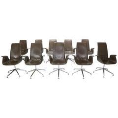 "Preben Fabricius & Jørgen Kastholm Set of 10 Chairs ""Bird"" Armchairs Model-FK672"