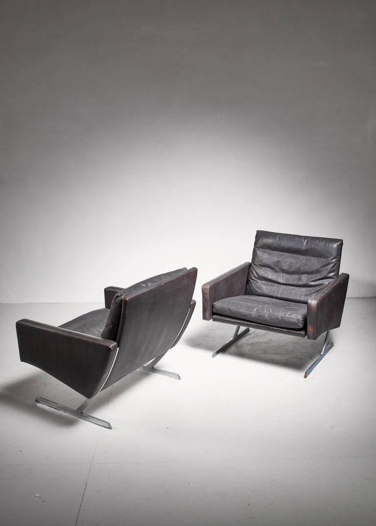 Mid-Century Modern Preben Fabricius Pair of BO 701 Chairs in Dark Brown Leather, Germany, 1970 For Sale