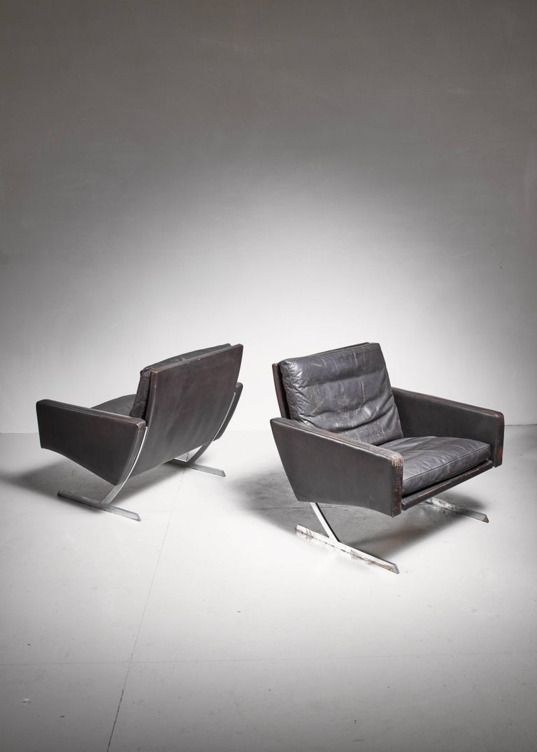 Preben Fabricius Pair of BO 701 Chairs in Dark Brown Leather, Germany, 1970 In Excellent Condition For Sale In Maastricht, NL