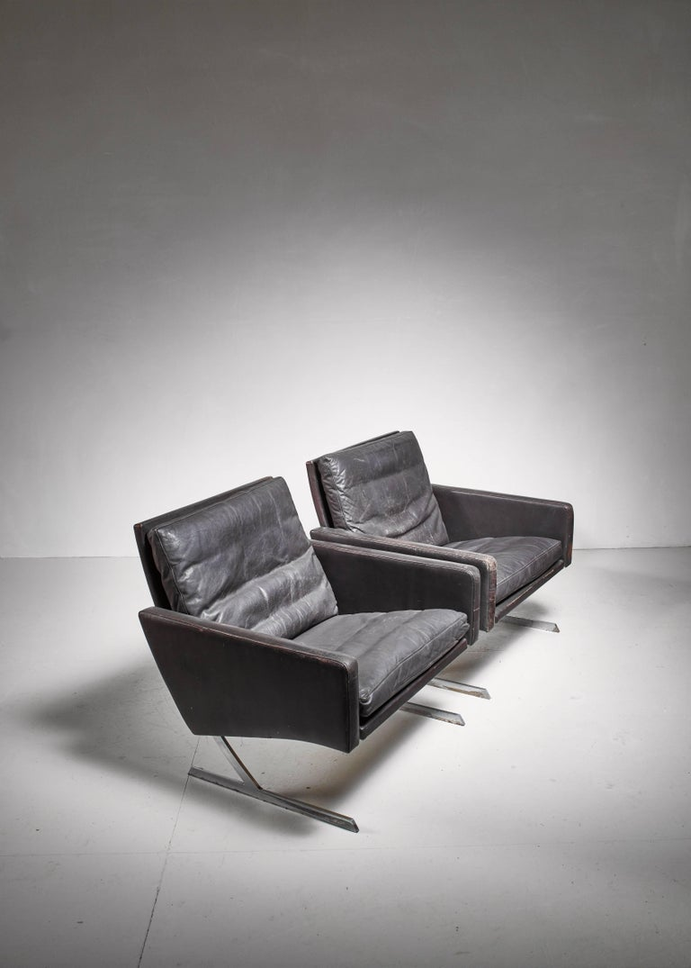 Steel Preben Fabricius Pair of BO 701 Chairs in Dark Brown Leather, Germany, 1970 For Sale