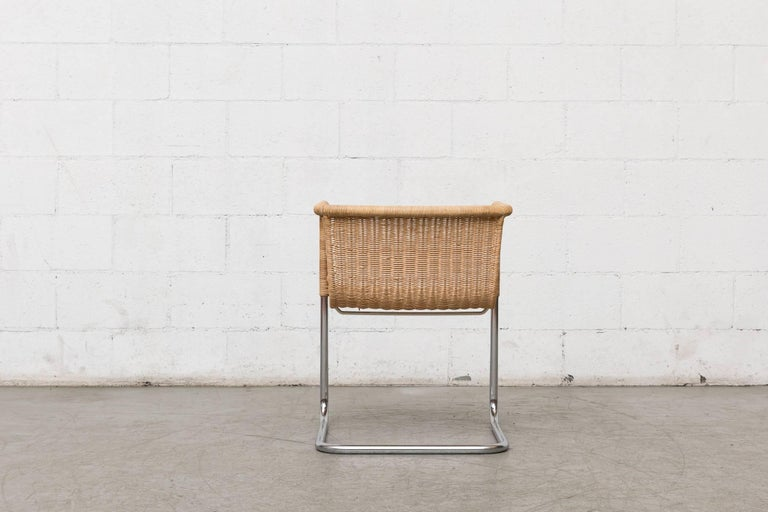 Preben Fabricius Rattan and Chrome Chair In Good Condition For Sale In Los Angeles, CA
