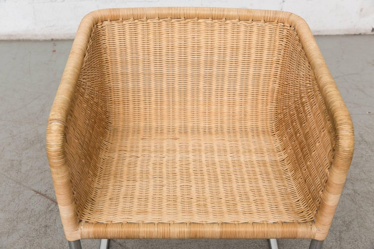 Bamboo Preben Fabricius Rattan and Chrome Chair For Sale