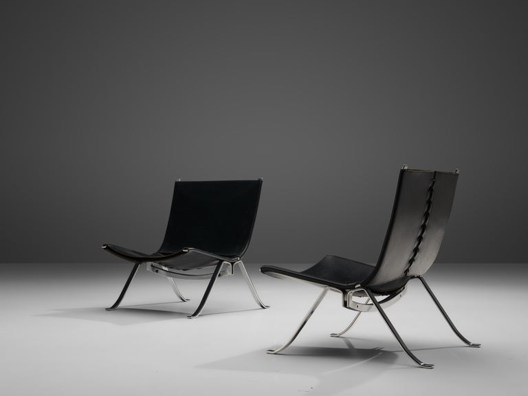 Preben Fabricius Set of Two Lounge Chairs in Black Leather For Sale 3
