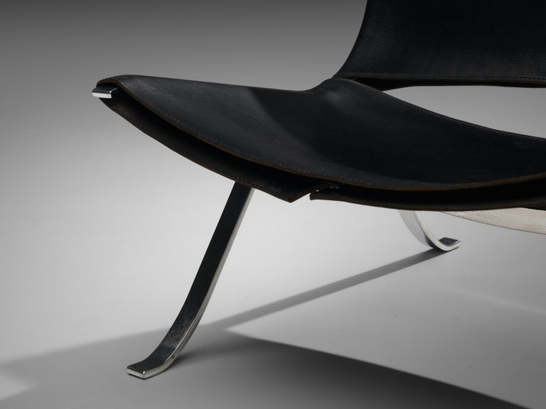 Preben Fabricius Set of Two Lounge Chairs in Black Leather For Sale 4