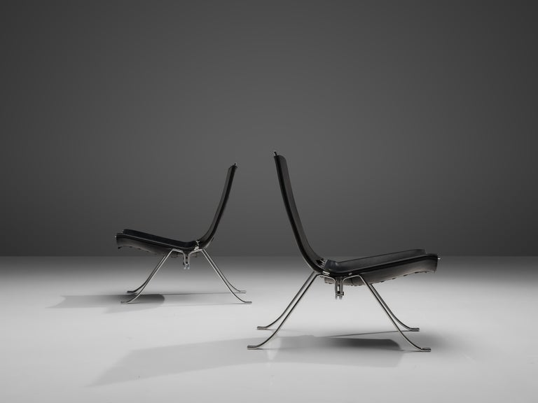 Preben Fabricius Set of Two Lounge Chairs in Black Leather For Sale 5