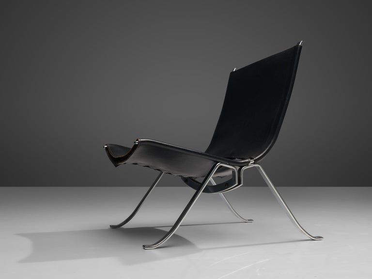 Scandinavian Modern Preben Fabricius Set of Two Lounge Chairs in Black Leather For Sale
