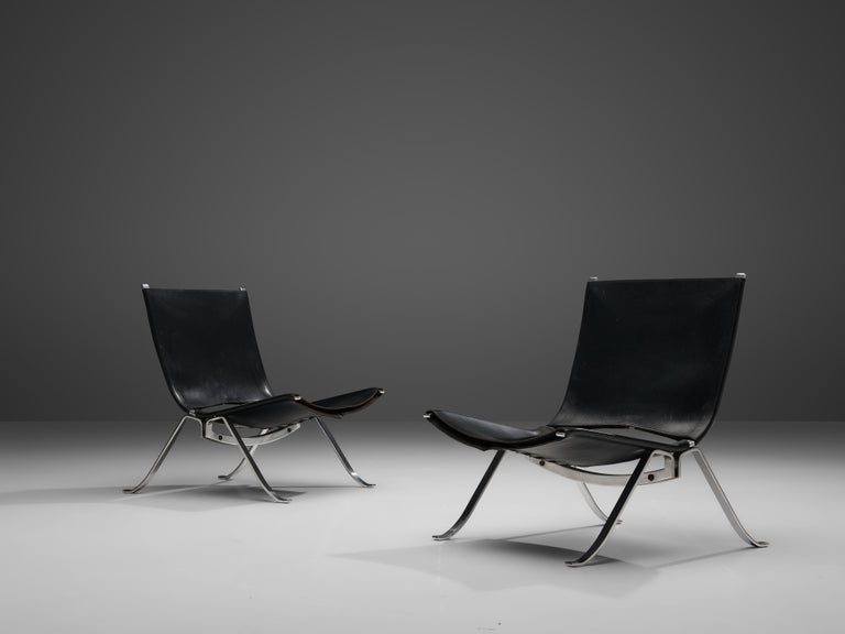 Danish Preben Fabricius Set of Two Lounge Chairs in Black Leather For Sale