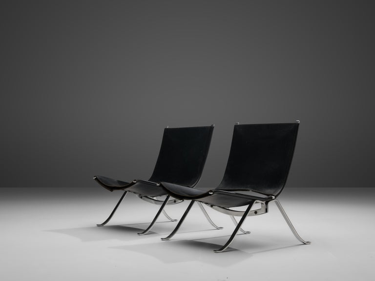 Late 20th Century Preben Fabricius Set of Two Lounge Chairs in Black Leather For Sale