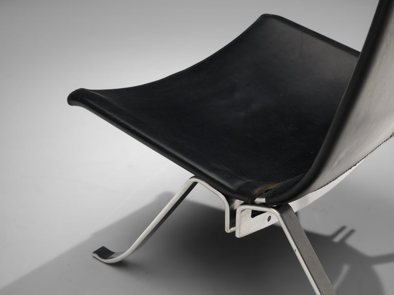Steel Preben Fabricius Set of Two Lounge Chairs in Black Leather For Sale